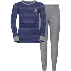 Odlo Active Originals Warm Sarja Lapset, grey melange/clematis blue/stripes